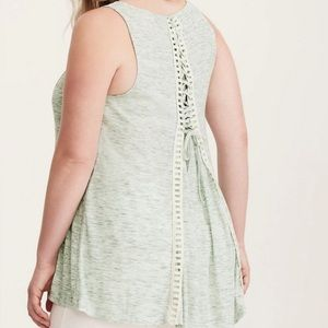 Torrid lace green tank top 2x
